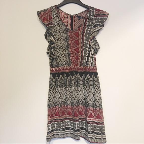 Ladakh Dresses & Skirts - Ladakh Aztec/Boho Print Black, Burgundy & white